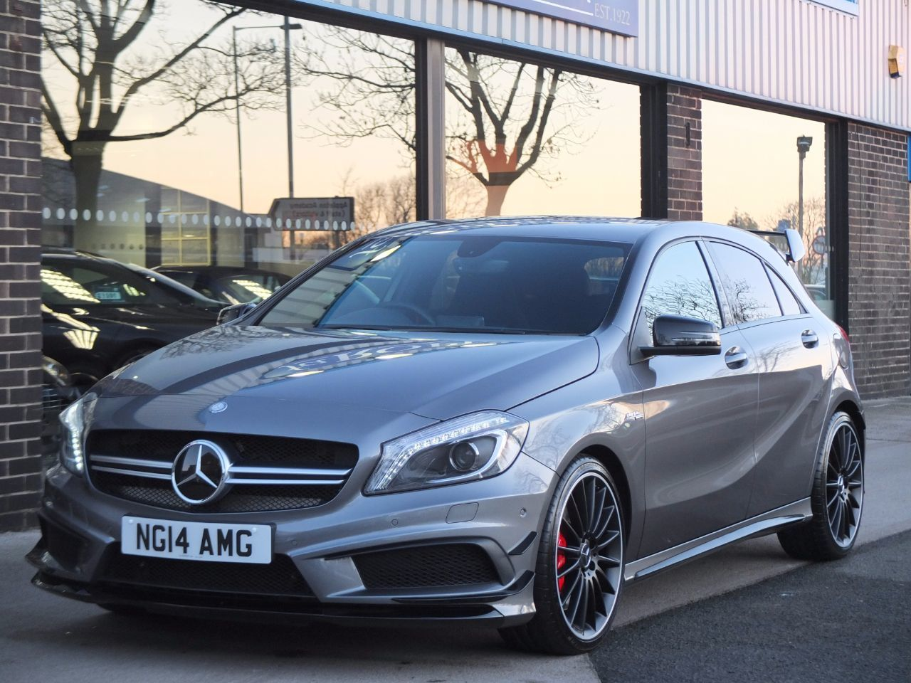 Mercedes-Benz A Class 2.0 A45 AMG 4-MATIC 7G-DCT Hatchback Petrol Mountain Grey MetallicMercedes-Benz A Class 2.0 A45 AMG 4-MATIC 7G-DCT Hatchback Petrol Mountain Grey Metallic at fa Roper Ltd Bradford