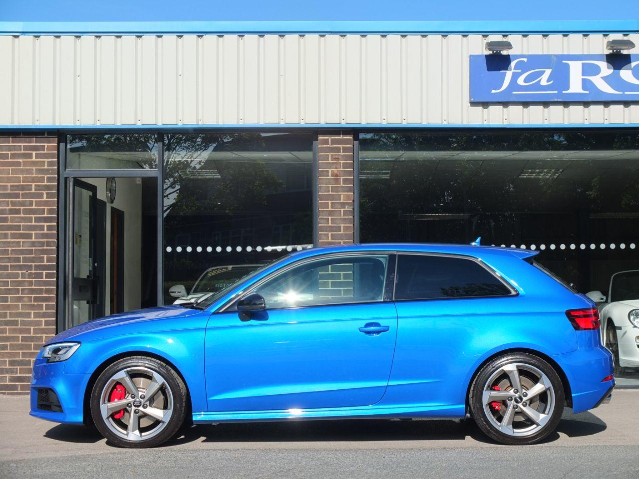 Audi A3 2.0 S3 TFSI quattro Black Edition 3 door S tronic 310ps Hatchback Petrol Ara Blue Crystal Effect