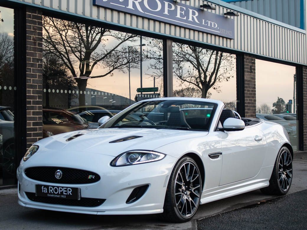 Jaguar XK 5.0 Supercharged V8 R Convertible Auto 510ps Convertible Petrol Polaris White, Black HoodJaguar XK 5.0 Supercharged V8 R Convertible Auto 510ps Convertible Petrol Polaris White, Black Hood at fa Roper Ltd Bradford