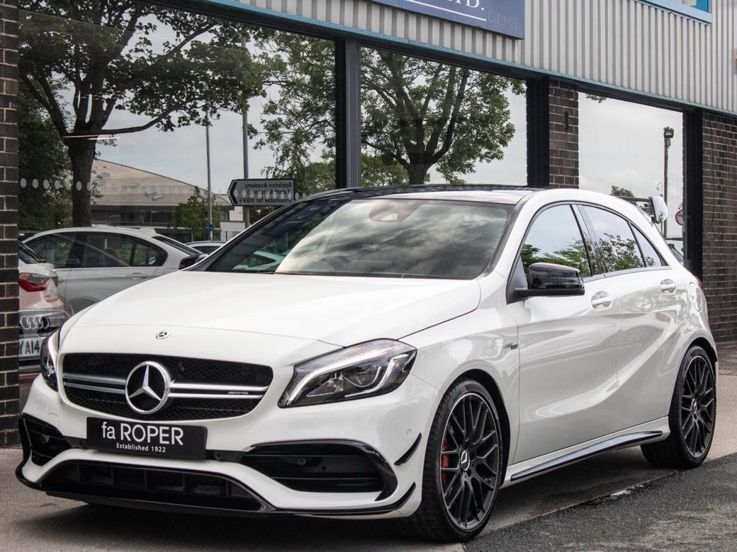 Mercedes-Benz A Class 2.0 A45 4MATIC Premium Auto 381ps +++Spec Hatchback Petrol Cirrus WhiteMercedes-Benz A Class 2.0 A45 4MATIC Premium Auto 381ps +++Spec Hatchback Petrol Cirrus White at fa Roper Ltd Bradford