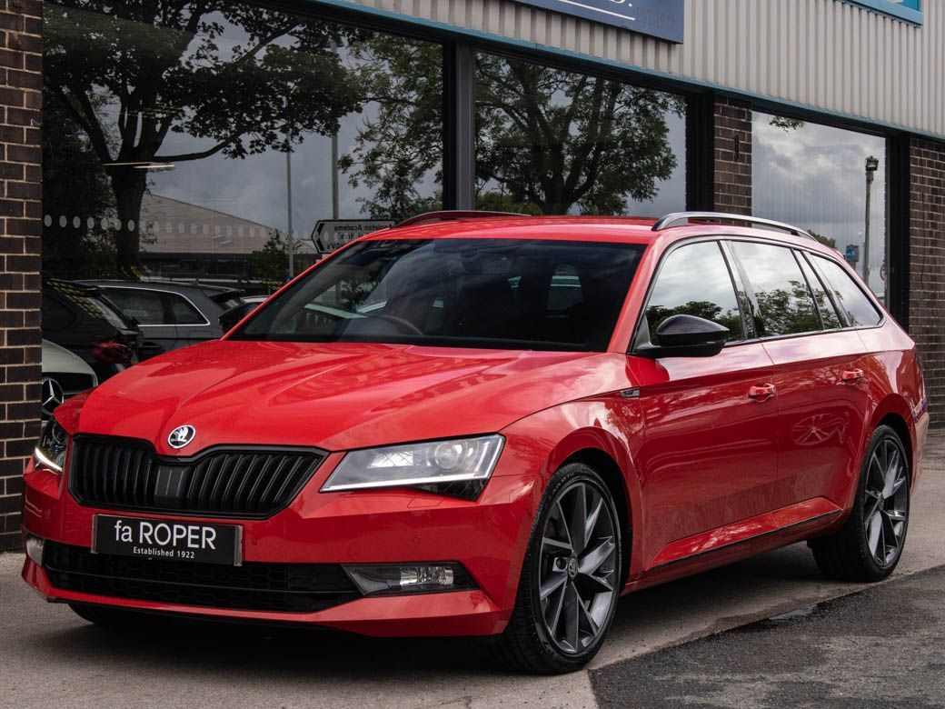 Skoda Superb 2.0 TDI CR Estate 190ps SportLine 4X4 DSG Auto Estate Diesel Corrida RedSkoda Superb 2.0 TDI CR Estate 190ps SportLine 4X4 DSG Auto Estate Diesel Corrida Red at fa Roper Ltd Bradford